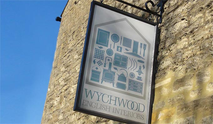 Wychwood English Interiors showroom signage